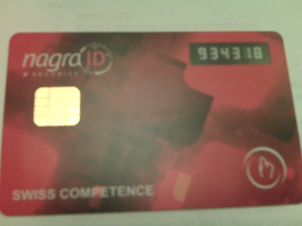 Front of NagraID multi-function multi-factor card